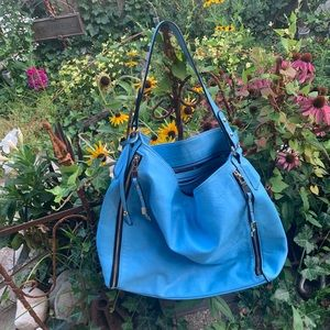 Sky blue faux leather hobo tote large size